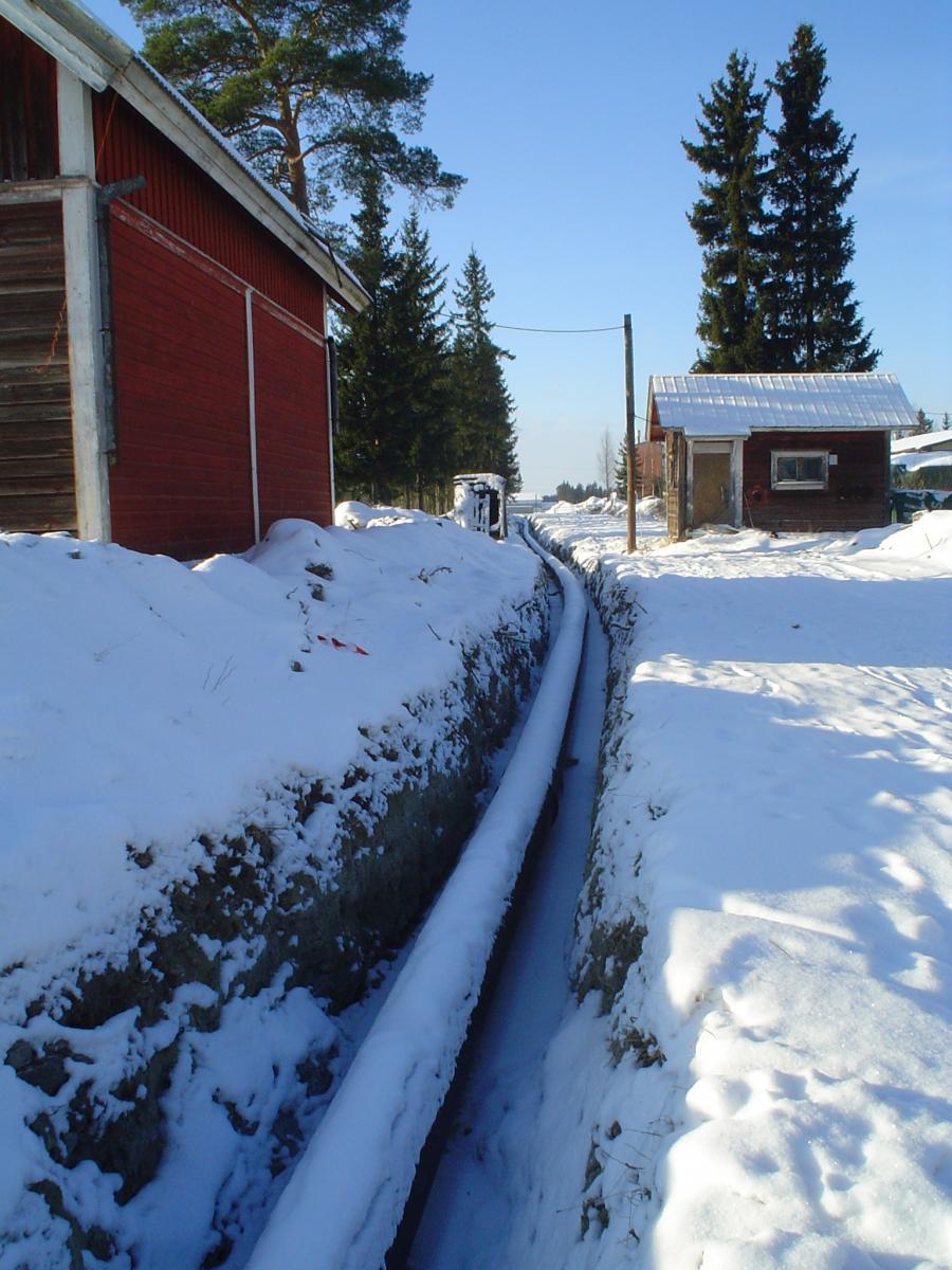 Ser en aning ut som ett försjunket skidspår i snön